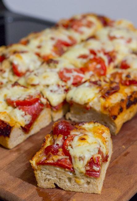 Detroit style pizza piece