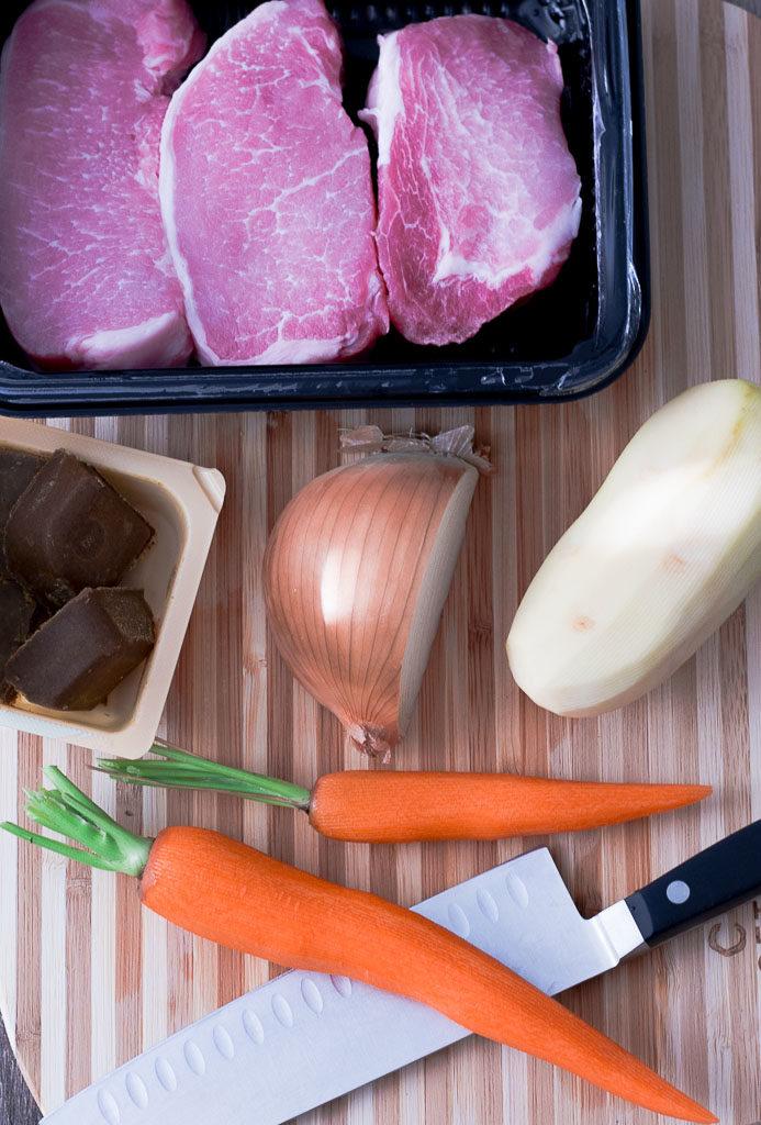 boneless pork loin, Japanese curry sauce mix, onion, potato, and carrot