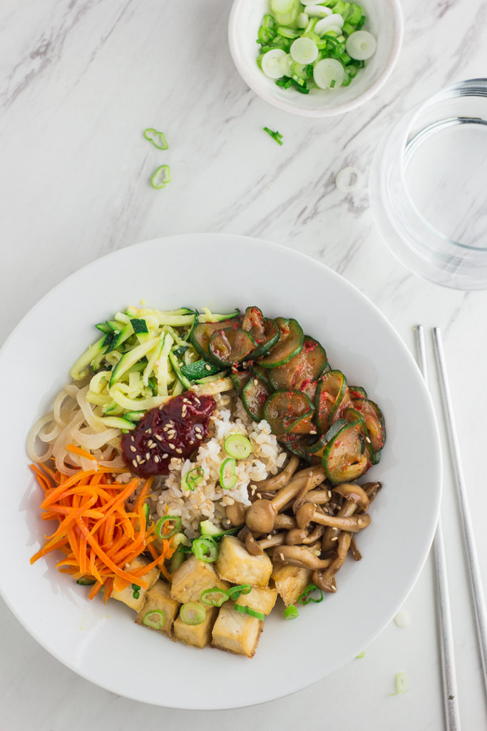 Vegan Korean Bibimbap before mixing