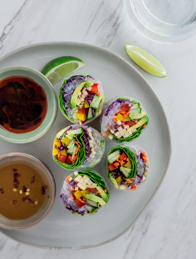 Vegan Rainbow Garden Summer Rolls