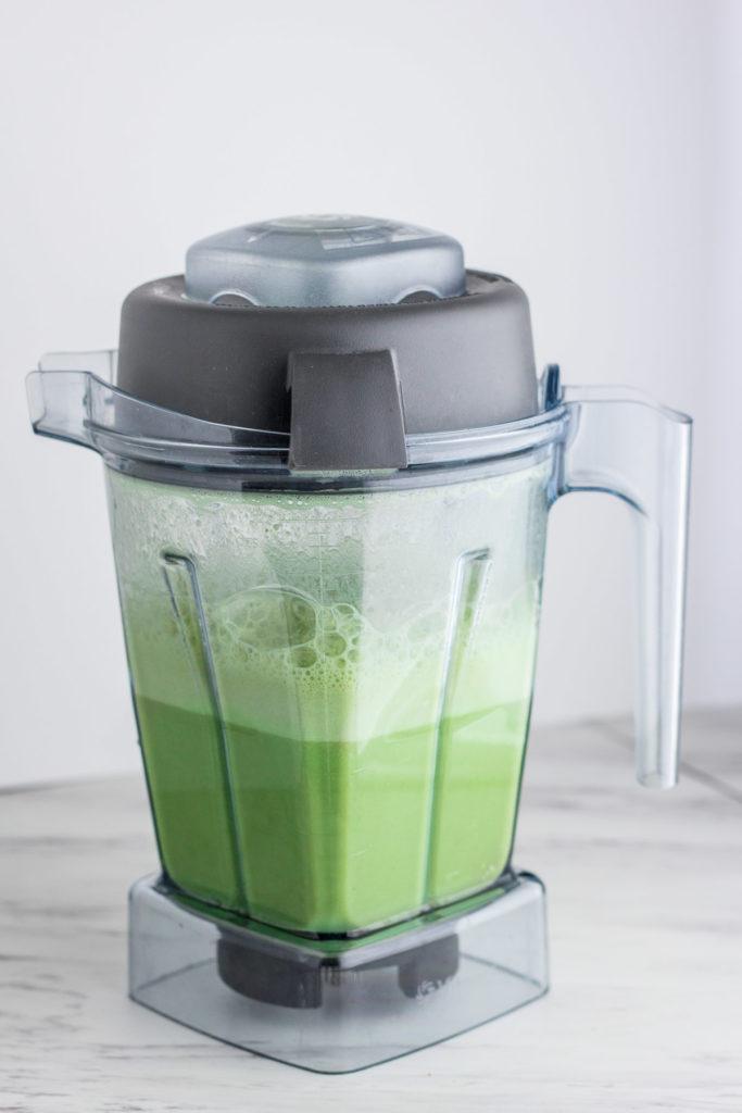 Homemade Healthy Matcha latte - blender cold