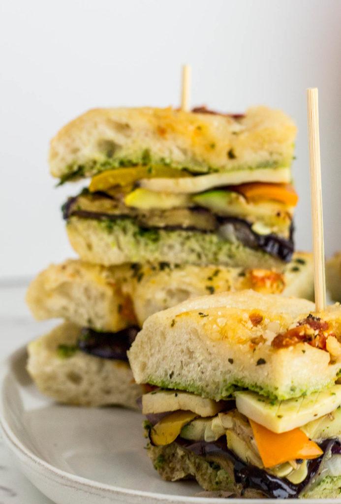 Labor Day Vegan Veggie Sandwich close up