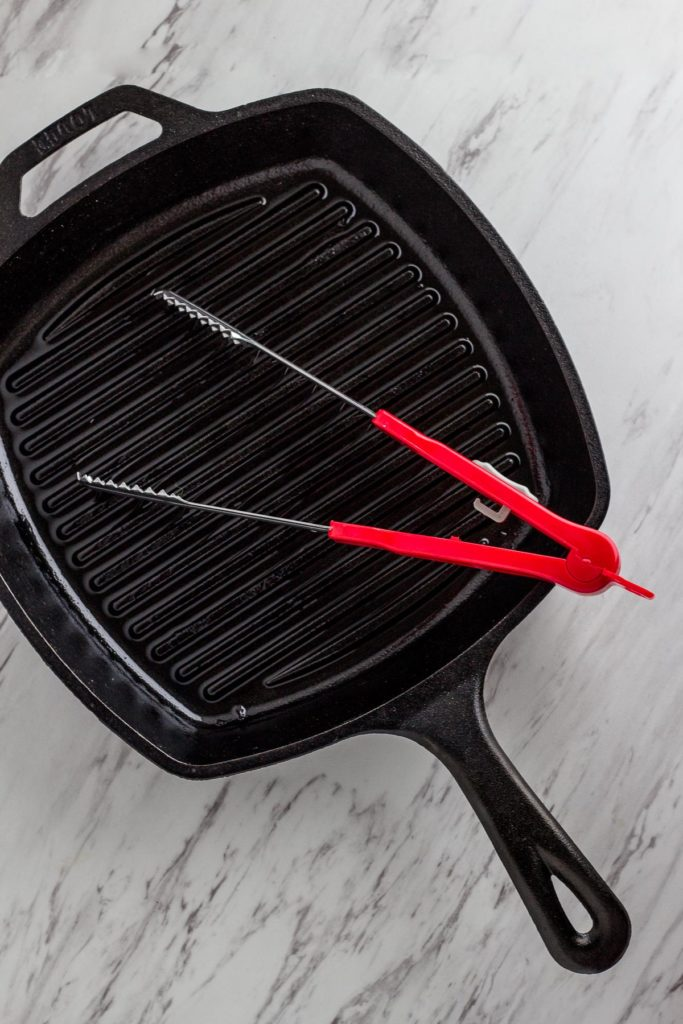 Cast iron pan with grill marks