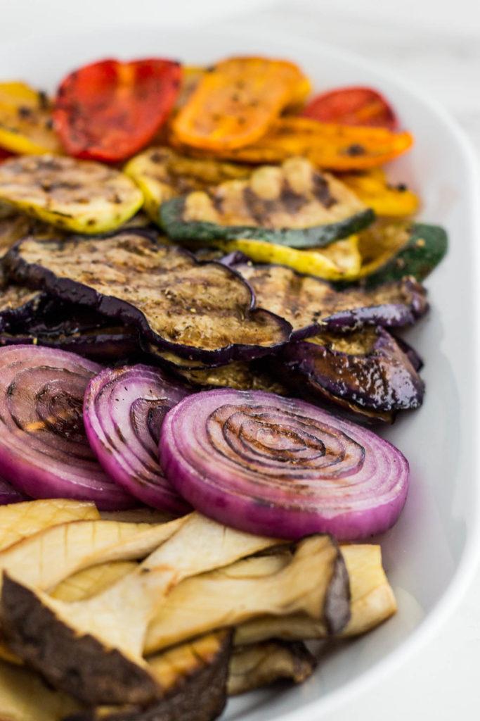 Grilled veggies close up