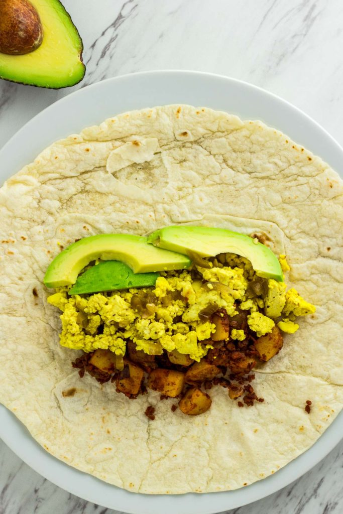vegan breakfast burritos, before wrapping