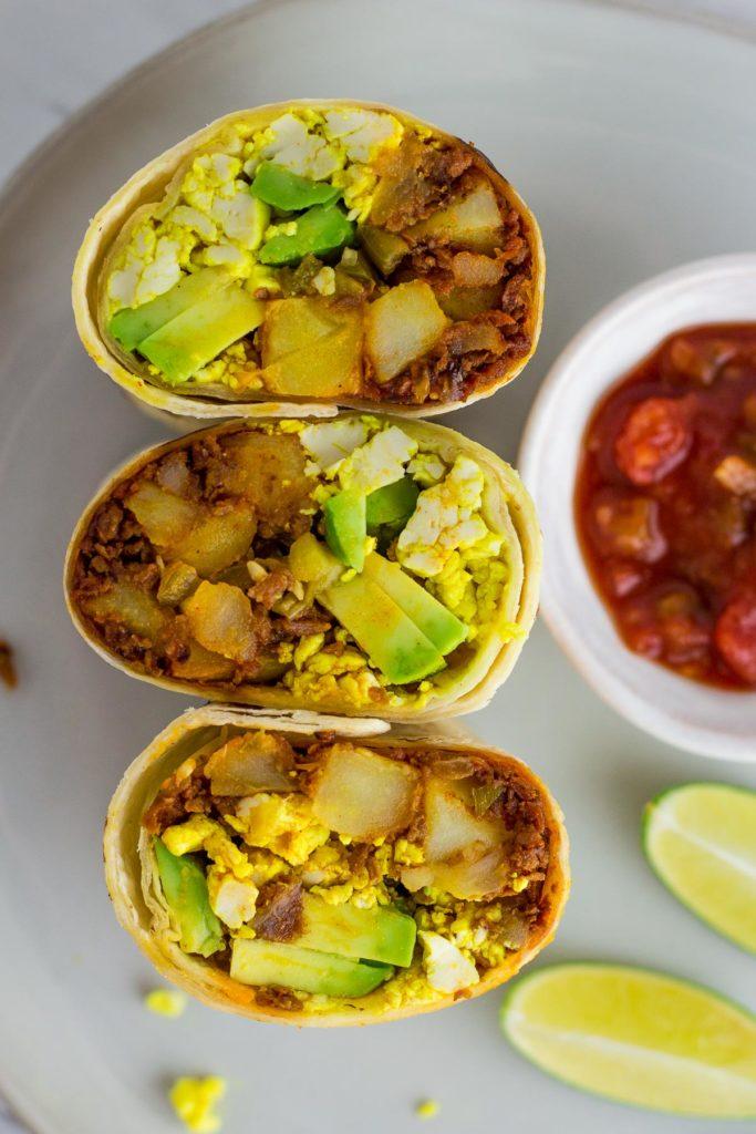 vegan breakfast burritos, close up