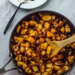 Vegan chorizo potato hash in pan