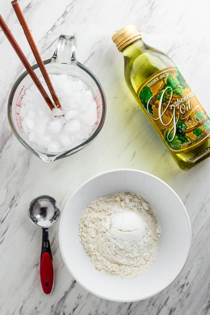 making crispy batter for kimchi pancake