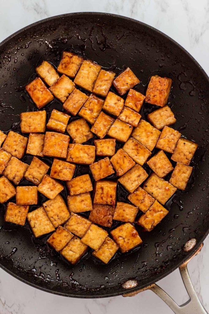 pan-fried tofu cubes simmered in vegan teriyaki sauce