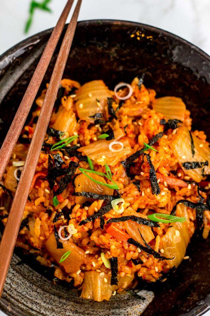bowl full of kimchi fried rice without fried egg - vegan friendly