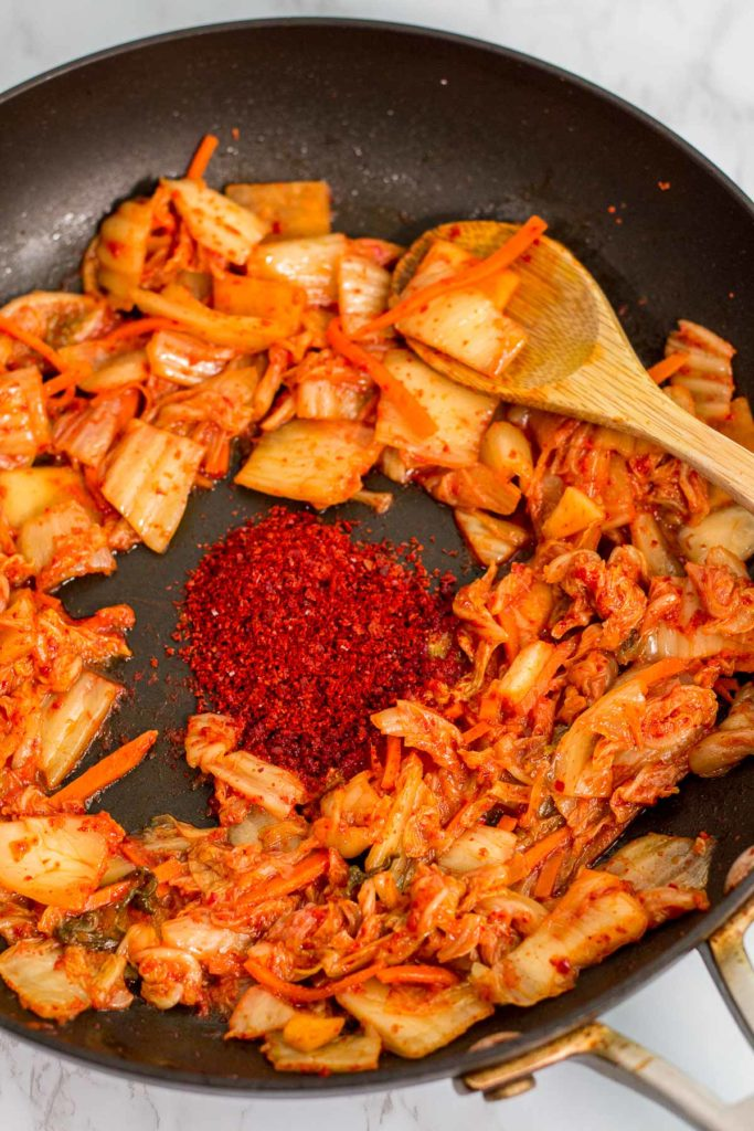 Stir-fried kimchi with extra Korean red pepper flakes