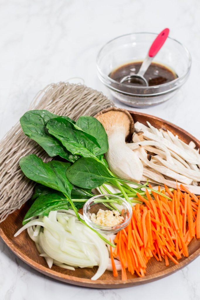 Raw ingredients to make japchae