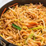 Skillet full of cooked vegan Pad Thai
