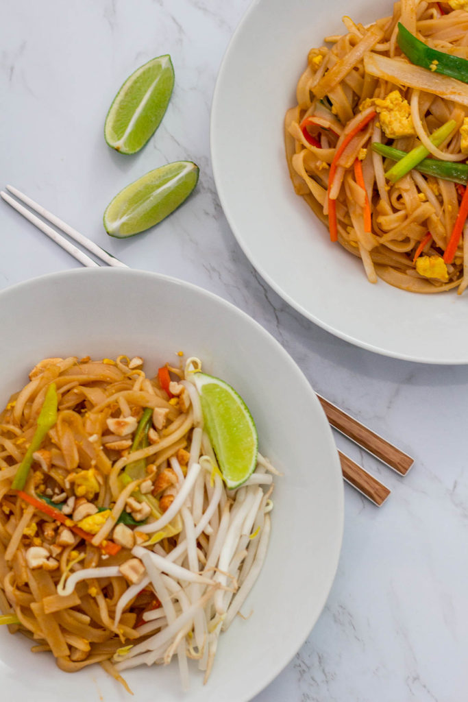 Two bowl of Pad Thai, over head shot