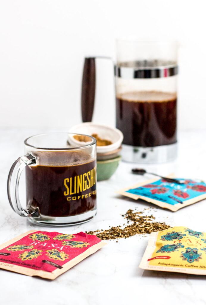 French pressed Rasa adaptogen coffee