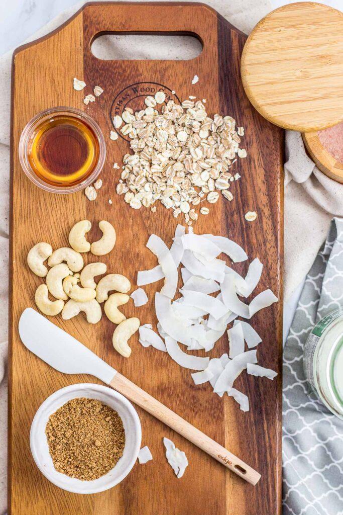 Ingredients to make small batch cashew coconut granola