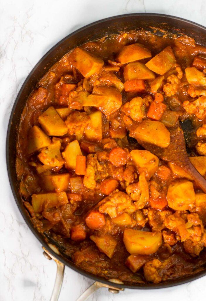 veggie curry in the pot before adding the cashew cream