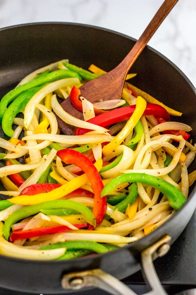 Sauteed onion and pepper in a large skillet