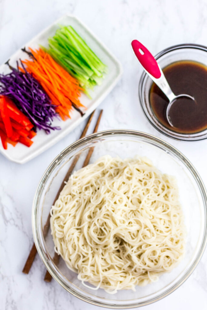 ingredients to make the noodle salad