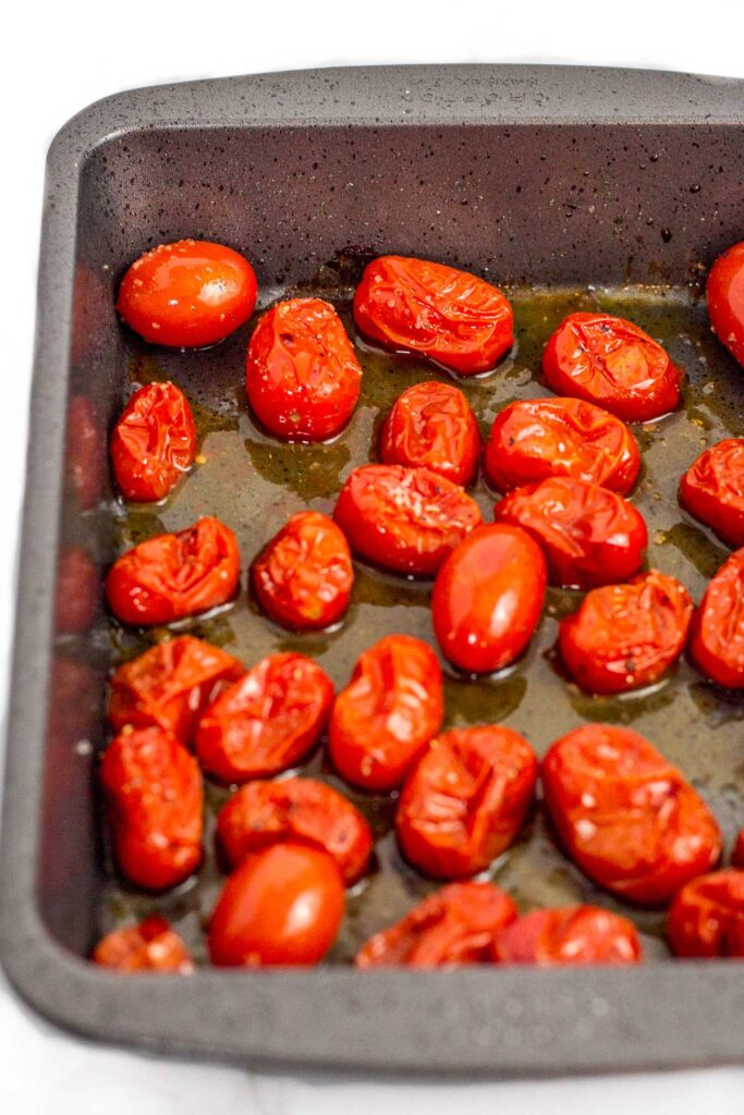 cherry tomatoes roasted in the oven with olive oil, salt and pepper