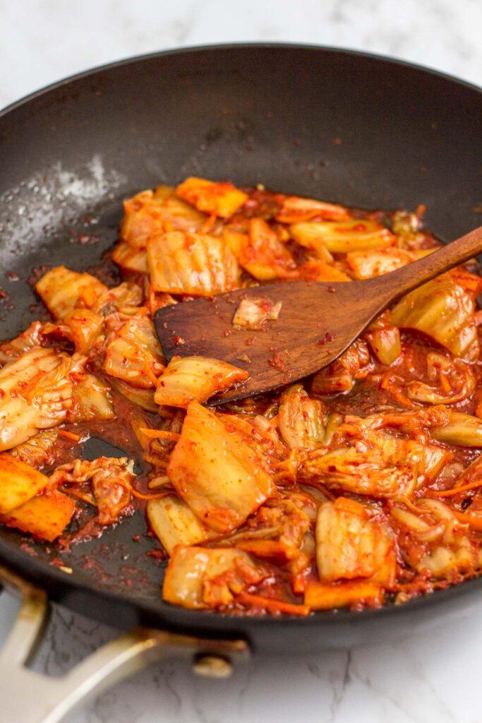 Fried vegan kimchi on the pan