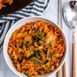 Overhead shot of 3 Ingredients Vegan Kimchi Ramen Fried Rice