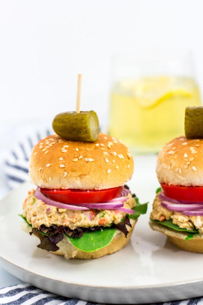 close up shot of chickpea salad sandwich