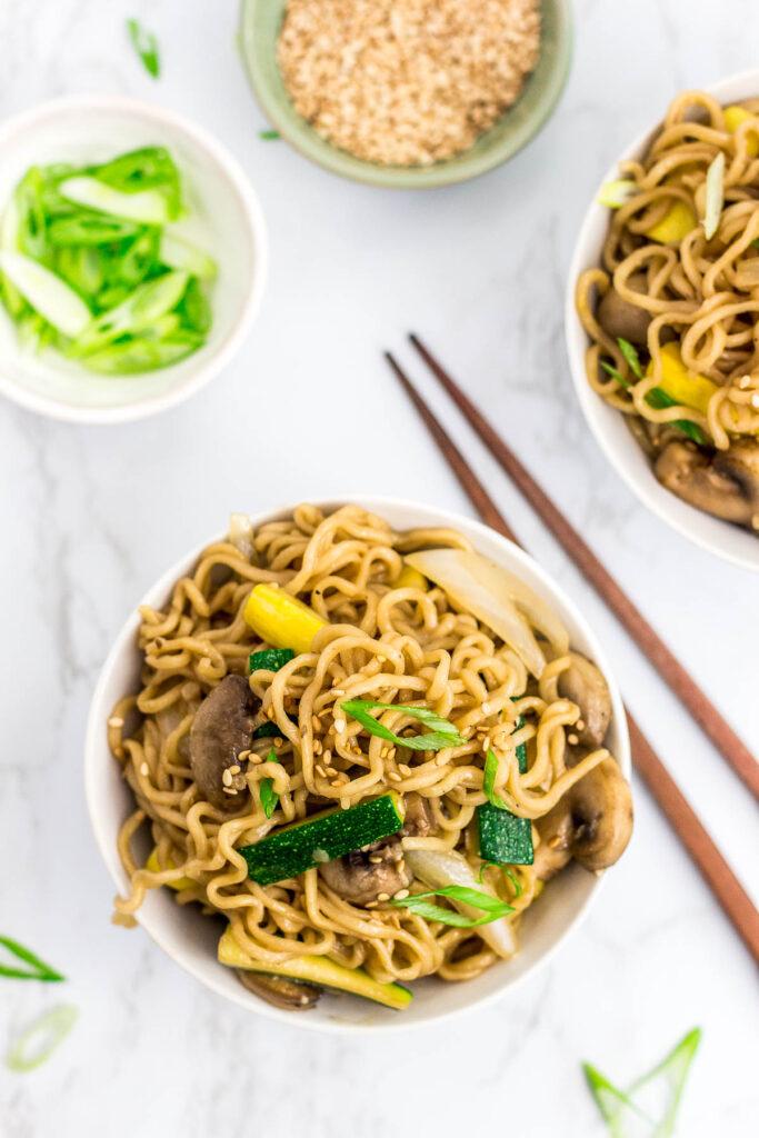 two bowls of hibachi vegetable ramen stir fry