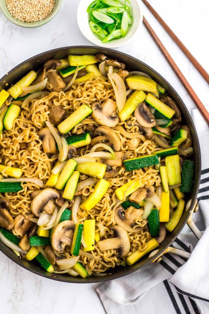 overhead shot of hibachi vegetable stir fried ramen