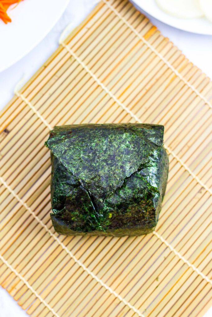 rice sandwich wrapped in nori