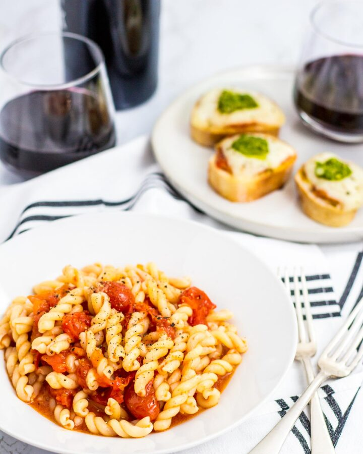 gemelli pasta mixed with slow roasted cherry tomato oil