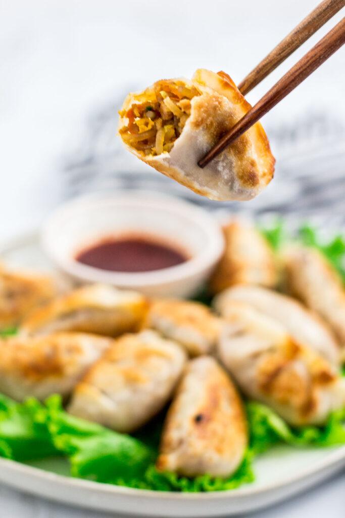 took a bite of vegan bulgogi mandu and the filling is shown