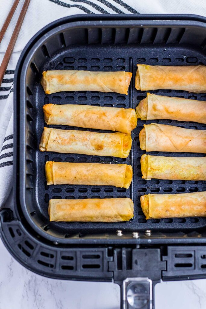 After cooking spring rolls in an air fryer