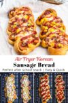 Korean sausage bread on top and process shots on the bottom.
