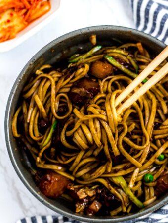 Mixed bowl of vegan jjajangmyeon