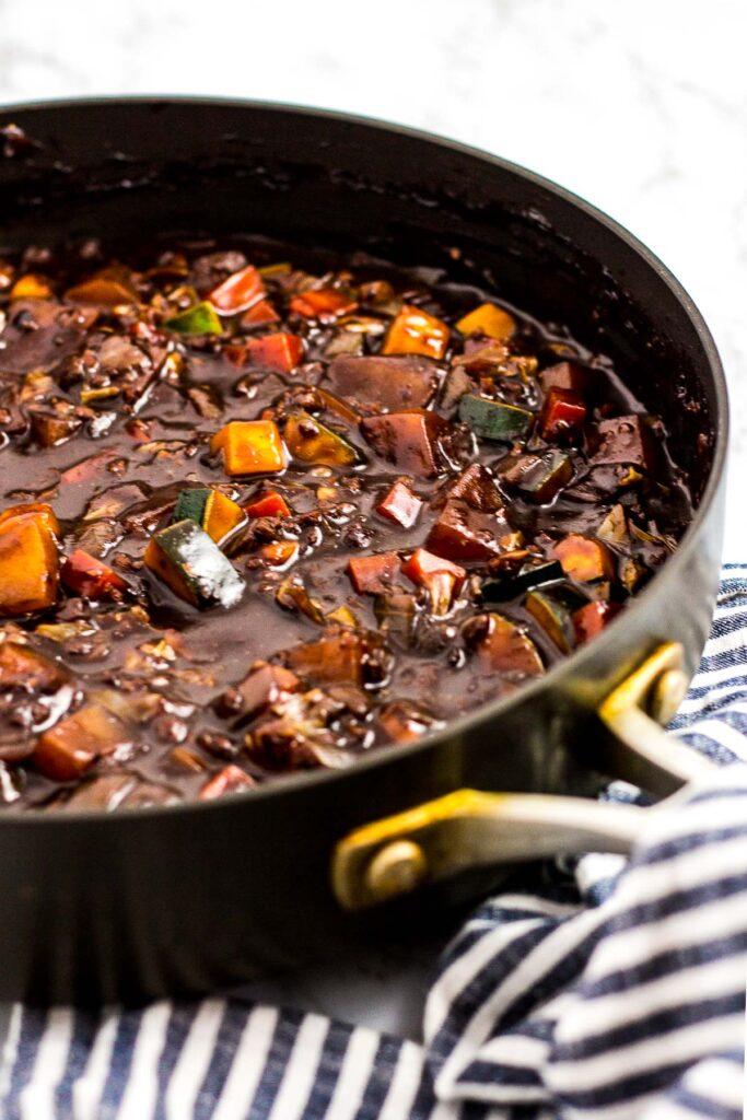 Vegan Jjajang sauce in the pan