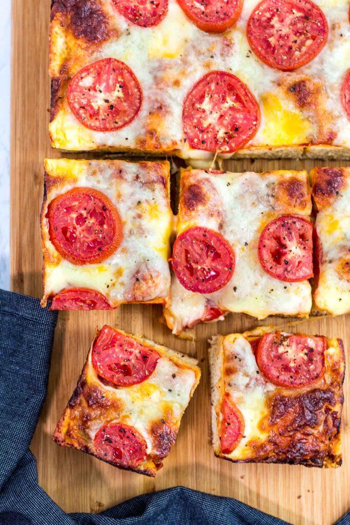 Overhead shot of Detroit style pizza