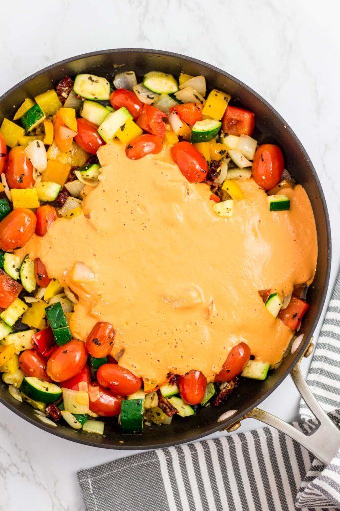 Sautéed vegetable with vegan tomato cashew sauce