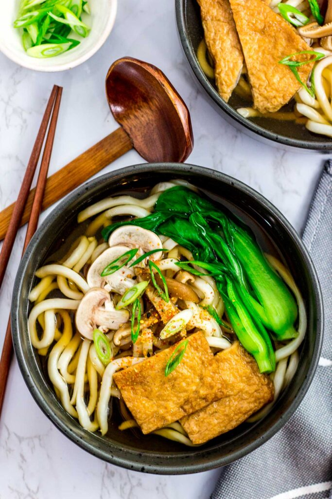 overhead shot of vegan udon noodle soup