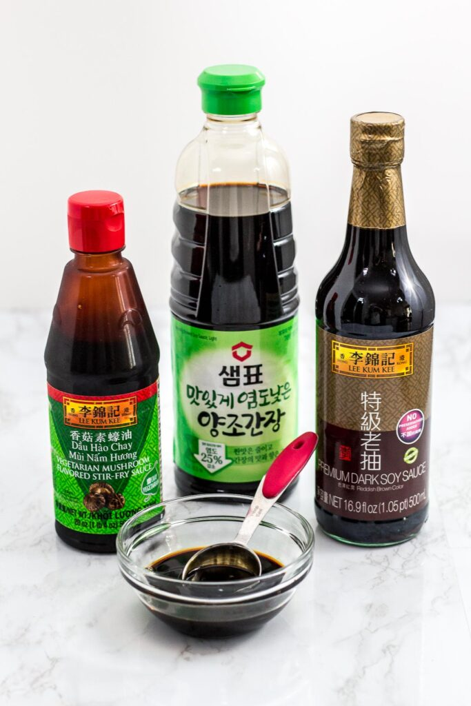 vegan oyster sauce, low sodium soy sauce, and dark soy sauce