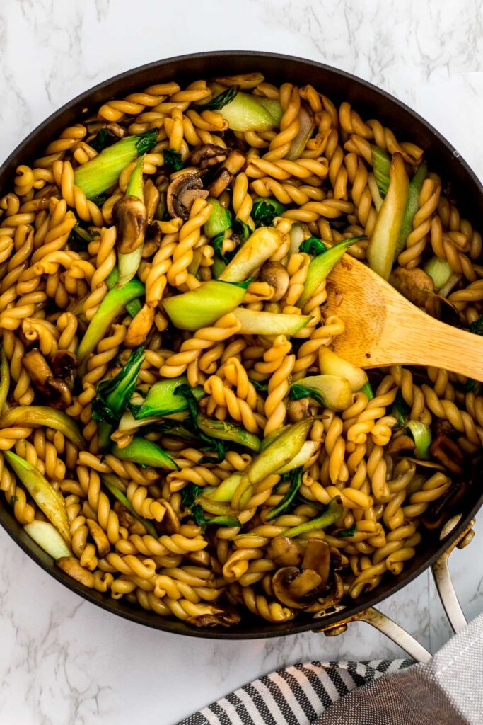 overhead shot of pasta stir fry in the pan
