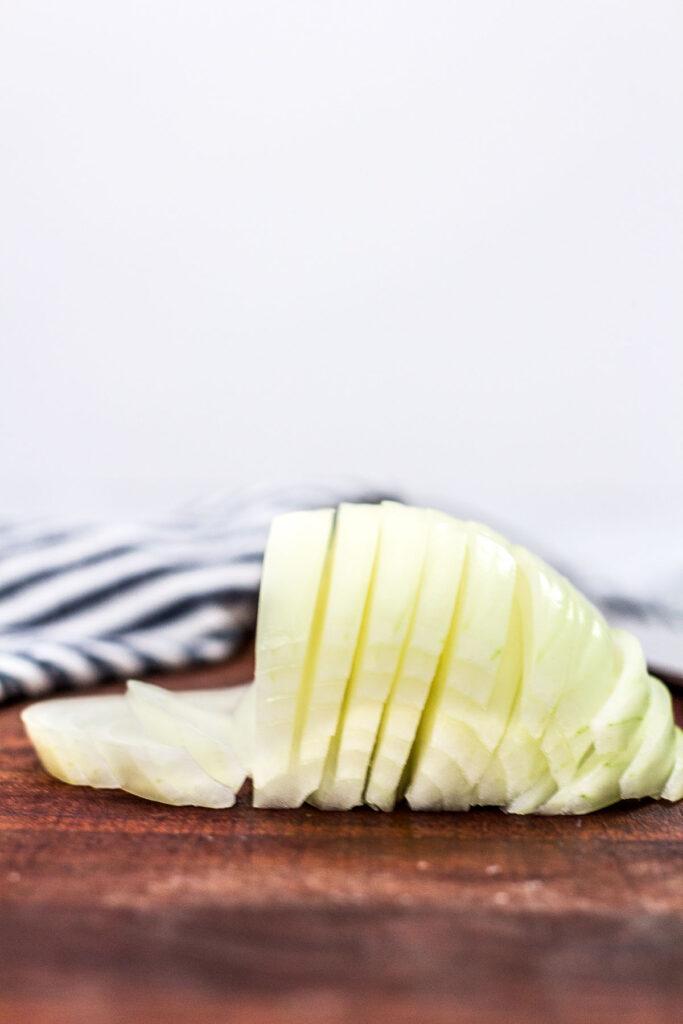 straight shot of onion sliced