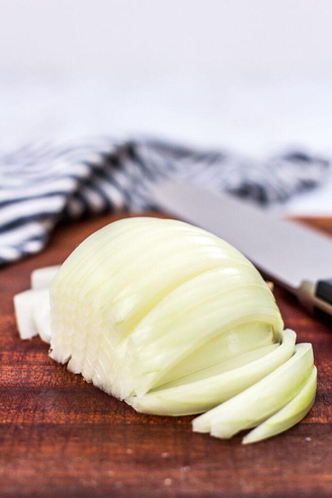 sliced onion on a cutting board