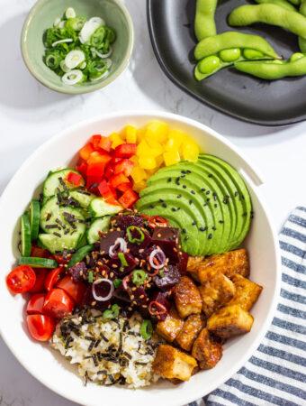 vegan beet poke bowl