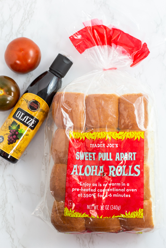 aloha rolls and balsamic glaze from Trader Joe's