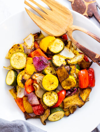 cooked air fried vegetable with serving spoon next to it