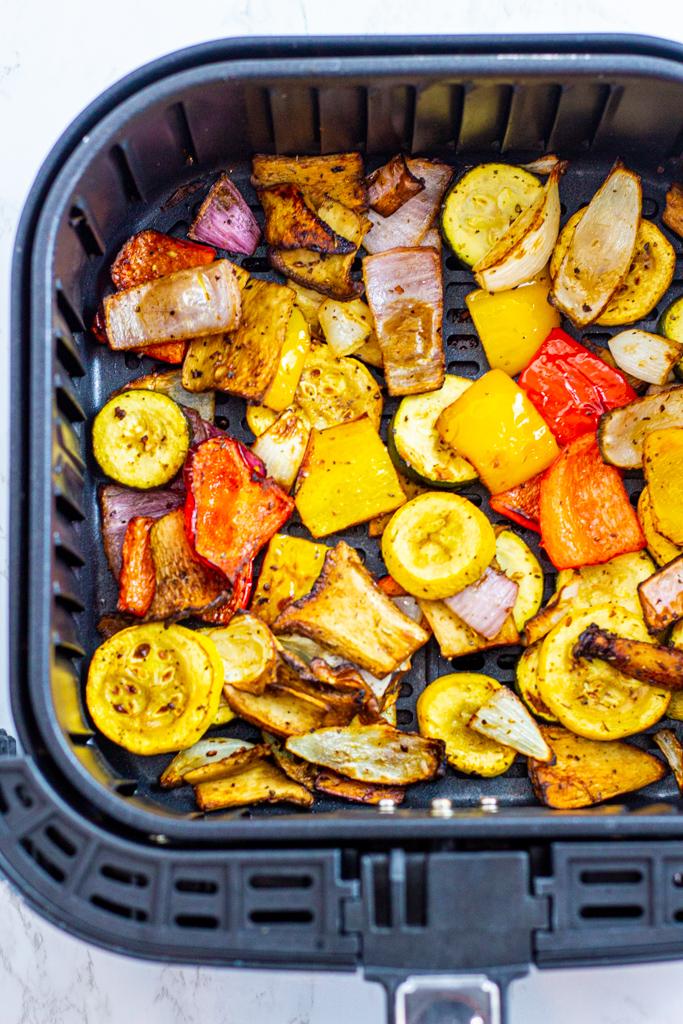 Grilled vegetables in air fryer basket