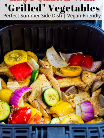 summer vegetables in the air fryer basket before cooking