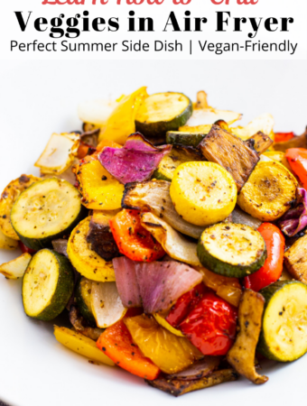 """air fried """"grilled"""" summer vegetable (zucchini, summer squash, pepper, onion, and mushroom) on a plate"""