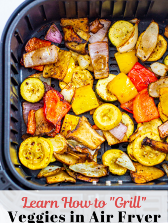 """Air fried """"grilled"""" vegetables (zucchini, summer squash, pepper, onion, and mushroom) in the air fryer basket"""